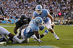 12 September 2015: UNC's Elijah Hood (34) scores a touchdown. The University of North Carolina Tar Heels hosted the North Carolina A&T State University Aggies at Kenan Memorial Stadium in Chapel Hill, North Carolina in a 2015 NCAA Division I College Football game.