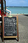 English menu board outside beach bar, Corralejo, Fuerteventura, Canary Islans,Spain