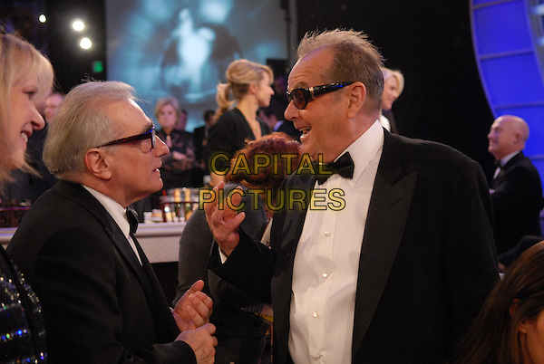 "MARTIN SCORSESE & JACK NICHOLSON.Telecast - 64th Annual Golden Globe Awards, Beverly Hills HIlton, Beverly Hills, California, USA..January 15th 2007. .globes half length black tuxedo jacket sunglasses glasses shades profile.CAP/AW.Please use accompanying story.Supplied by Capital Pictures.© HFPA"" and ""64th Golden Globe Awards"""