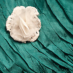 White Flower Blue Silk 02 - Turquoise blue layered silk shawl and white silk flower.