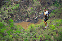 LIVINGSTONE, VICTORIA FALLS, ZAMBIA, DECEMBER 2004. People jump into the Zambezi gorge and do the gorge swing. Victoria falls on the border between Zambia and Zimbabwe is the outdoor adventure capital of Africa. Photo by Frits Meyst/Adventure4ever.com
