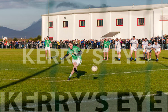In the Mid Kerry Senior Championship Final 2019 at Glenbeigh/Glencar's pitch on Sunday, Milltown/Castlemaine's Cathal Moriarty cooly slots away a vital penalty kick.