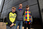 AFC Fylde 1, Aldershot Town 0, 14/03/2020. Mill Farm, National League. Visiting supporter Guy Owen with his sons Harvey, 14 (left) and Joe, (13) outside the stadium before AFC Fylde took on Aldershot Town in a National League game at Mill Farm, Wesham. The fixture was played against the backdrop of the total postponement of all Premier League and EFL football matches due to the the coronavirus outbreak. The home team won the match 1-0 with first-half goal by Danny Philliskirk watched by a crowd of 1668. Photo by Colin McPherson.