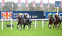 Bronze Angel (no. 4), ridden by Louis Steward and trained by Marcus Tregoning, wins the Balmoral Handicap for three year olds and upward on October 18, 2014 at Ascot Racecourse in Ascot, Berkshire, United Kingdom.  (Bob Mayberger/Eclipse Sportswire)