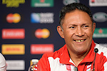 ENG - Newcastle upon Tyne, England, October 08: During the Media Conference at the Captains Run of Tonga on October 8, 2015 at St. James Park in Newcastle upon Tyne, England. (Photo by Dirk Markgraf / www.265-images.com) *** Local caption *** head coach Mana 'Otai of Tonga