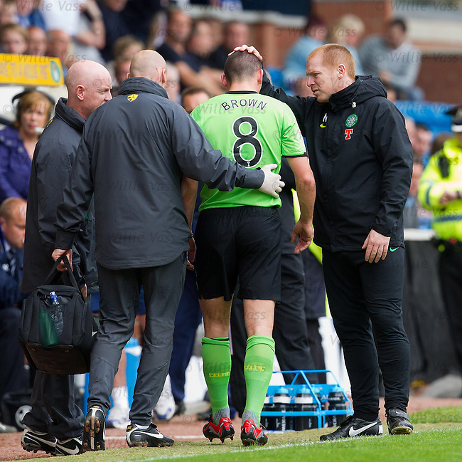 Scott Brown goes down injured and leaves the play