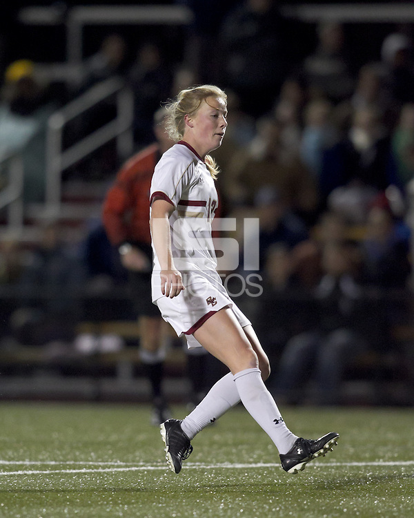 "Boston College midfielder Julia Bouchelle (12) scores Boston College's second goal of the match. Boston College defeated West Virginia, 4-0, in NCAA tournament ""Sweet 16"" match at Newton Soccer Field, Newton, MA."