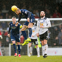 7th March 2020; Somerset Park, Ayr, South Ayrshire, Scotland; Scottish Championship Football, Ayr United versus Dundee FC; Jordon Forster of Dundee heads clear from Michael Moffat of Ayr United