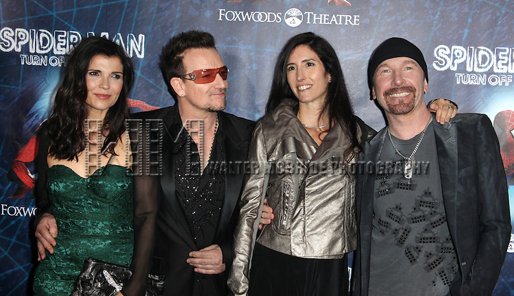 (L-R) Ali Hewson, Bono of U2, Morleigh Steinberg and The Edge of U2.attending the Opening Night Performance of 'Spider-Man Turn Off The Dark' at the Foxwoods Theatre in New York City.