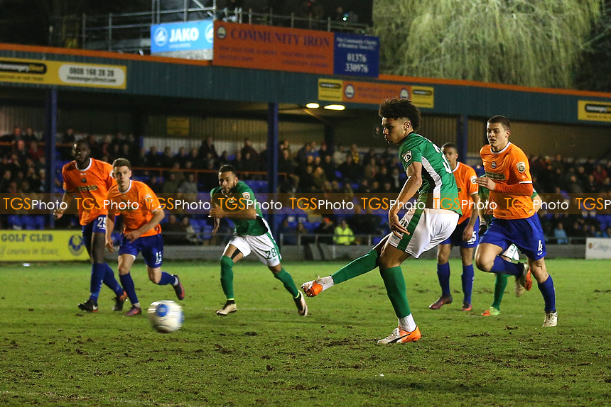 Lee Angol of Lincoln City scores the third goal for his team rom the penalty spot to complete his hat-trick during Braintree Town vs Lincoln City, Vanarama National League Football at the IronmongeryDirect Stadium on 7th March 2017