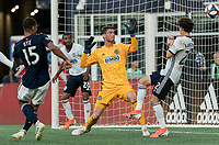 FOXBOROUGH, MA - JUNE 26: Brandon Bye #15 scores on corner kick during a game between Philadelphia Union and New England Revolution at Gillette Stadium on June 26, 2019 in Foxborough, Massachusetts.