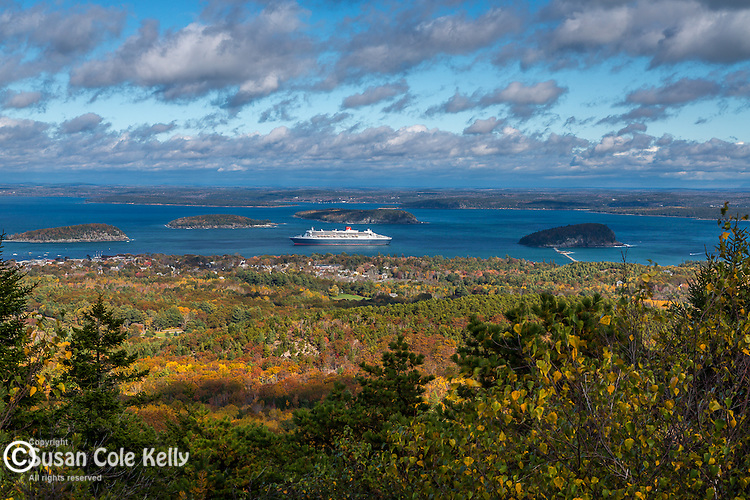 Fall foliage and a cruise ship in Acadia National Park, Maine, USA
