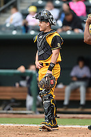Jacksonville Suns  catcher J.T. Realmuto (11) during a game against the Pensacola Blue Wahoos on April 20, 2014 at Bragan Field in Jacksonville, Florida.  Jacksonville defeated Pensacola 5-4.  (Mike Janes/Four Seam Images)