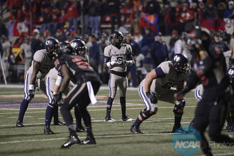 07 DEC 2013:  Fresno State University takes on Utah State University during the Mountain West Conference football championship game at Bulldog Stadium in Fresno, CA. Justin Tafoya/NCAA Photos