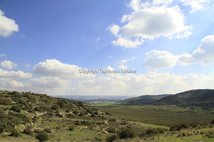 Israel, Shephelah, a view of the Elah Valley from of Khirbet Qeiyafa, site of Biblical Shaaraim