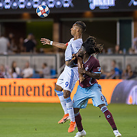 SAN JOSÉ CA - JULY 27: Danny Hoesen #9, Lalas Abubakar #6 during a Major League Soccer (MLS) match between the San Jose Earthquakes and the Colorado Rapids on July 27, 2019 at Avaya Stadium in San José, California.