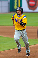 Biloxi Shuckers outfielder Blake Allemand (3) during a Southern League game against the Tennessee Smokies on May 25, 2017 at Smokies Stadium in Kodak, Tennessee.  Tennessee defeated Biloxi 10-4. (Brad Krause/Krause Sports Photography)