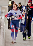 8 January 2016: Laura Deas, competing for the United Kingdom, smiles after completing her second run of the BMW IBSF World Cup Skeleton race with a combined 2-run time of 1:50.59, earning her the bronze medal at the Olympic Sports Track in Lake Placid, New York, USA. Mandatory Credit: Ed Wolfstein Photo *** RAW (NEF) Image File Available ***