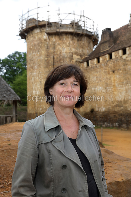 Marylyn Martin, director of the Guedelon project, at the Chateau de Guedelon, a castle built since 1997 using only medieval materials and processes, in Treigny, Yonne, Burgundy, France. The Guedelon project was begun in 1997 by Michel Guyot, owner of the nearby Chateau de Saint-Fargeau, with architect Jacques Moulin. It is an educational and scientific project with the aim of understanding medieval building techniques and the chateau should be completed in the 2020s. Picture by Manuel Cohen