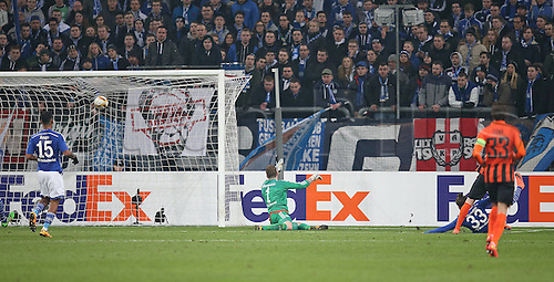 25.02.2016. Gelsenkirchen, Germany. Europa League Round of 32 Second Leg soccer match between Schalke 04 and FC Shakhtar Donetsk in the Veltins Arena in Gelsenkirchen, Germany. Donetsk score for 0-3