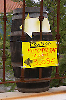 Wine shop. Sign Moscatel JMF Alamire. Azeitao, Portugal.