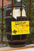 Wine shop. Sign Moscatel JMF Alamire. Azeitao, Portugal.