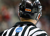 "Hockey East officials, including Jeff Bunyon, are wearing the ""EFB Jr."" emblem complete with official stripes and referee orange in honor of Edmund F. ""Ned"" Bunyon, Jr. who passed away on December 30, 2009.   - The Boston University Terriers defeated the Merrimack College Warriors 6-4 (EN) on Saturday, January 16, 2010, at Agganis Arena in Boston, Massachusetts."
