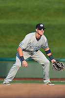West Michigan Whitecaps first baseman Aaron Westlake #24 during a Midwest League game against the South Bend Silver Hawks at Coveleski Stadium on August 15, 2012 in South Bend, Indiana.  West Michigan defeated South bend 7-1.  (Mike Janes/Four Seam Images)