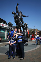 Bath Rugby supporters pose for photos outside the stadium. The Clash, Aviva Premiership match, between Bath Rugby and Leicester Tigers on April 8, 2017 at Twickenham Stadium in London, England. Photo by: Rogan Thomson / JMP for Onside Images