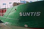 Suntis cargo ship carrying timber. Urban redevelopment of docks, Ipswich Wet Dock, Suffolk, England