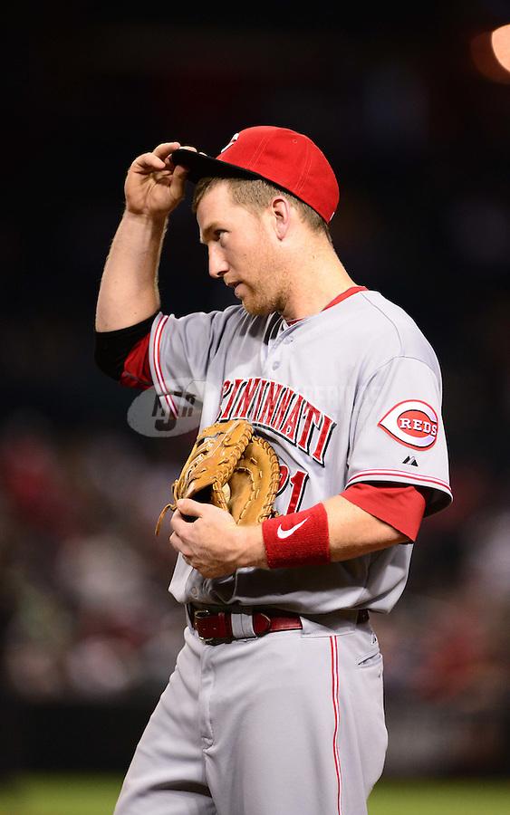 Aug. 28, 2012; Phoenix, AZ, USA: Cincinnati Reds first baseman Todd Frazier against the Arizona Diamondbacks at Chase Field. Mandatory Credit: Mark J. Rebilas-