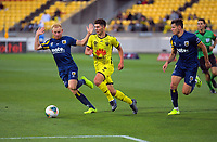 Phoenix's Liberato Cacace in action during the A-League football match between Wellington Phoenix and Central Coast Mariners at Westpac Stadium in Wellington, New Zealand on Saturday, 4 January 2020. Photo: Dave Lintott / lintottphoto.co.nz