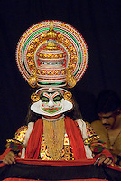 Fort Cochin, Kochi, Kerala, India, March 2008. Kathakali is the Keralan colourful traditional performing art, theater and dance. The make-up of the artists for this performanescan take up hours. Fort Cochin was colonialised by the Portugese, Dutch and British, It was an important port for the spice trade with the west. Photo by Frits Meyst/Adventure4ever.com