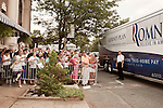 August 11, 2012. Ashland, VA.. Romney/ Ryan campaign supporters gathered outside Homemades by Suzanne, a local restaurant where the candidates stopped for food.    . Republican presidential candidate Mitt Romney campaigned through Virginia and North Carolina over the weekend, showing off his new vice presidential pick Paul Ryan. The candidates stopped at several small businesses highlighting their promise to champion the needs of business owners across the country.