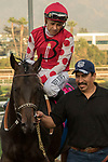ARCADIA, CA  JANUARY 07:#8 Midnight Bisou, ridden by Mike Smith, after  winning the Santa Ynez Stakes (Grade ll) on January 7, 2018, at Santa Anita Park in Arcadia, CA. (Photo by Casey Phillips/ Eclipse Sportswire/ Getty Images)