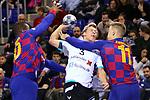 VELUX EHF 2019/20 EHF Men's Champions League Group Phase - Round 8.<br /> FC Barcelona vs Aalborg Handbold: 44-35.<br /> Cedric Sorhaindo, Janus Dadi Smarason & Lasse Bredekjaer Andersson.
