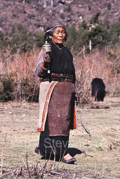 Tibetan woman in Samagaon village in Nepal.