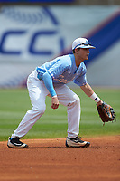 North Carolina Tar Heels shortstop Logan Warmoth (7) on defense against the Florida State Seminoles in the 2017 ACC Baseball Championship Game at Louisville Slugger Field on May 28, 2017 in Louisville, Kentucky. The Seminoles defeated the Tar Heels 7-3. (Brian Westerholt/Four Seam Images)
