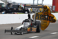 Sep 28, 2013; Madison, IL, USA; NHRA top fuel dragster driver Troy Buff during qualifying for the Midwest Nationals at Gateway Motorsports Park. Mandatory Credit: Mark J. Rebilas-