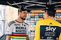 Picture by Russell Ellis/russellis.co.uk/SWpix.com - image archived on 25/04/2019 Cycling Tour de France 2018 - Team Sky at the Tour de France - STAGE 20: SAINT-PÉE-SUR-NIVELLE - ESPELETTE 28/07/2018 ITT Individual Time Trial<br /> - Geraint Thomas with Peter Sagan