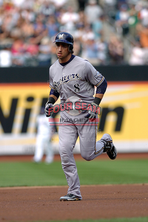 Milwakee Brewers infielder Ryan Braun #8 during a game against the New York Mets at Citi Field on August 20, 2011 in Queens, NY.  Brewers defeated Mets 11-9.  Tomasso DeRosa/Four Seam Images