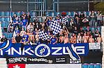 ***BETALBILD***  <br /> Stockholm 2015-09-04 Ishockey CHL Djurg&aring;rdens IF - EV Zug :  <br /> Zugs supportrar med bar &ouml;verkropp under matchen mellan Djurg&aring;rdens IF och EV Zug <br /> (Foto: Kenta J&ouml;nsson) Nyckelord:  Ishockey Hockey CHL Hovet Johanneshovs Isstadion Djurg&aring;rden DIF Zug supporter fans publik supporters
