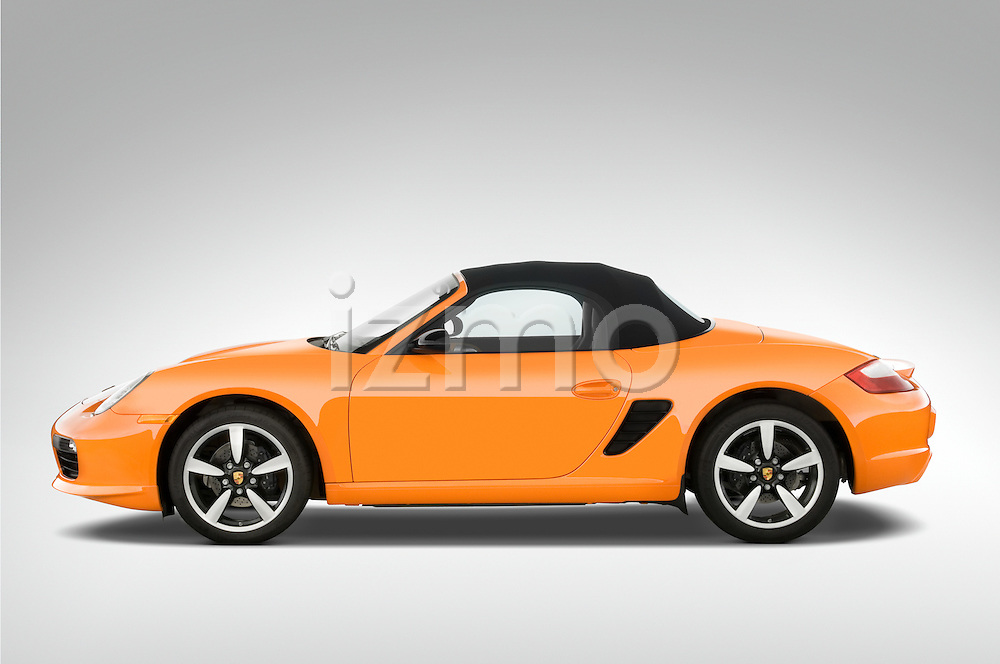 Drive side profile of a 2008 Porsche Boxster LE, with the top up
