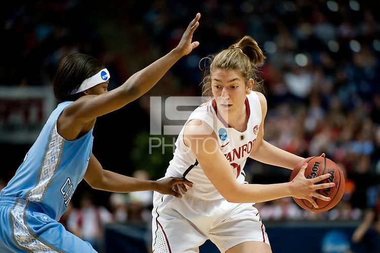 SPOKANE, WA - MARCH 26, 2011: Toni Kokenis, Stanford Women's Basketball vs University of North Carolina, NCAA West Regionals on March 26, 2011.