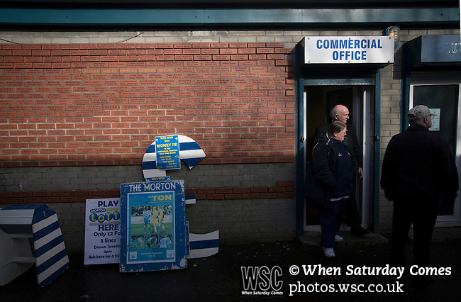 Greenock Morton 2 Stranraer 0, 21/02/2015. Cappielow Park, Greenock. The commercial office entrance and notice boards, pictured before Greenock Morton take on Stranraer in a Scottish League One match at Cappielow Park, Greenock. The match was between the top two teams in Scotland's third tier, with Morton winning by two goals to nil. The attendance was 1,921, above average for Morton's games during the 2014-15 season so far. Photo by Colin McPherson.