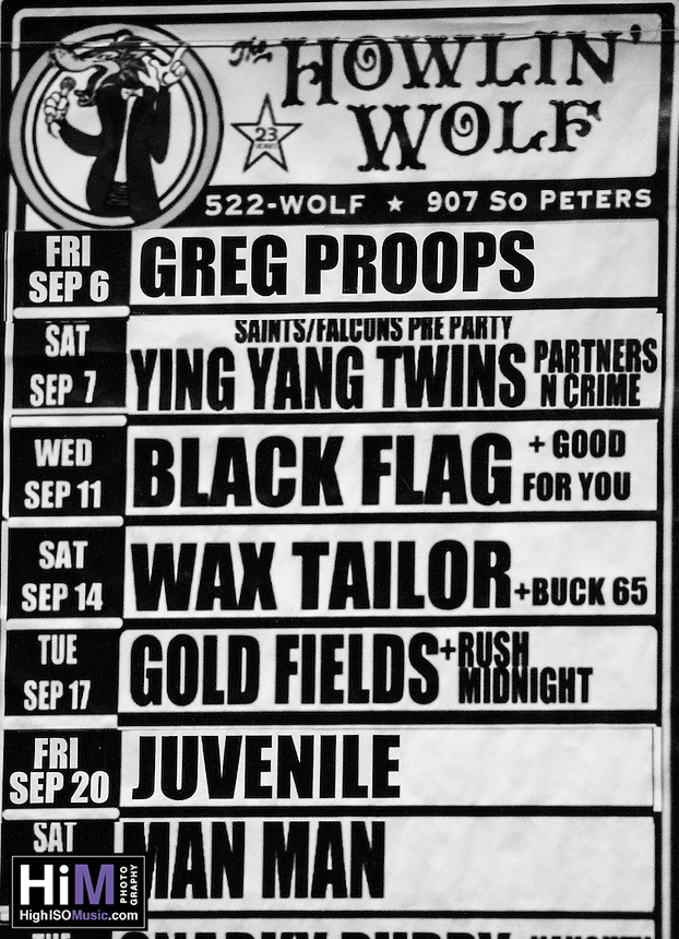 Black Flag and Good For You perform at the Howlin' Wolf on 9/11 in New Orleans, LA.