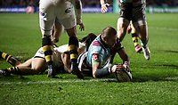Harlequins' Ross Chisholm scores his side's first try<br /> <br /> Photographer Bob Bradford/CameraSport<br /> <br /> European Rugby Challenge Cup - Harlequins v Wasps - Sunday 13th January 2018 - Twickenham Stoop - London<br /> <br /> World Copyright &copy; 2018 CameraSport. All rights reserved. 43 Linden Ave. Countesthorpe. Leicester. England. LE8 5PG - Tel: +44 (0) 116 277 4147 - admin@camerasport.com - www.camerasport.com