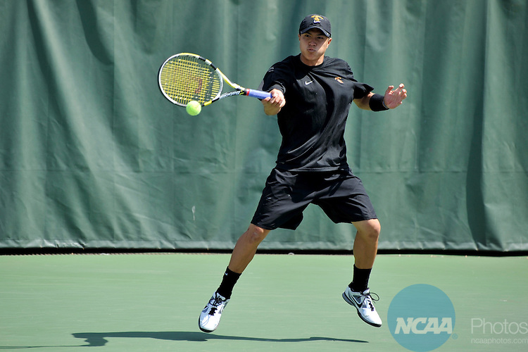 24 MAY 2011: Daniel Nguyen of the University of Southern California hits the ball against the University of Virginia during singles play at the Division I Men's Tennis Championship held at the Taube Family Tennis Center on the Stanford University  campus in Stanford, CA. Southern California defeated Virginia 4-3 to win the national team title  Brett Wilhelm/NCAA Photos