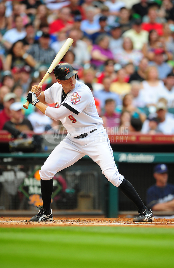 Apr. 30, 2011; Houston, TX, USA: Houston Astros outfielder Hunter Pence against the Milwaukee Brewers at Minute Maid Park. Mandatory Credit: Mark J. Rebilas-