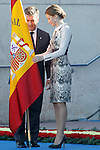 Queen Letizia of Spain (r) and Ignacio Cosido, Director General of Police, attend the delivery ceremony of the Spanish flag to Spanish Police on November 10, 2015 in Avila, Spain.(ALTERPHOTOS/Acero)